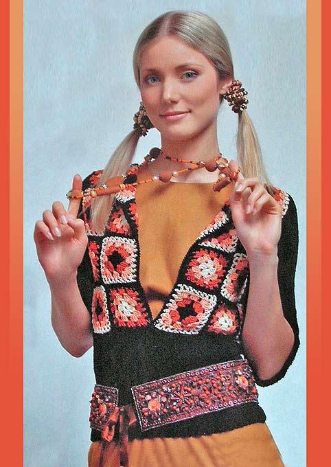 пуловер из разноцветных квадратиков крючком