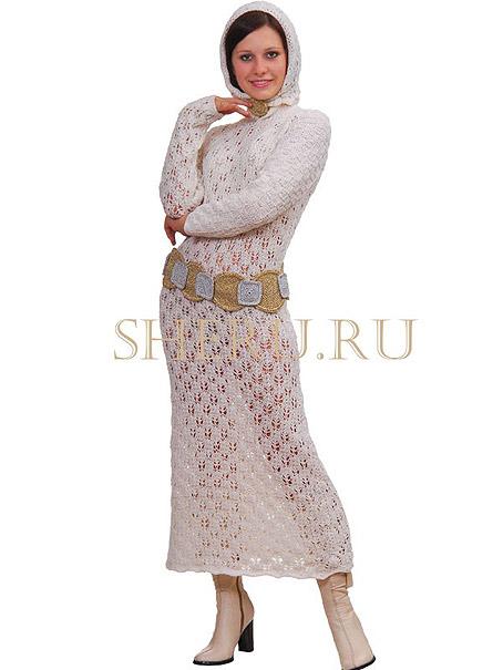 """Бесплатно скачать схему вязания белого платья можно на сайте SHERU в разделе  """"Бесплатные журналы и схемы вязания """"..."""