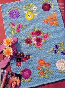 вышивка на полотенце цветы