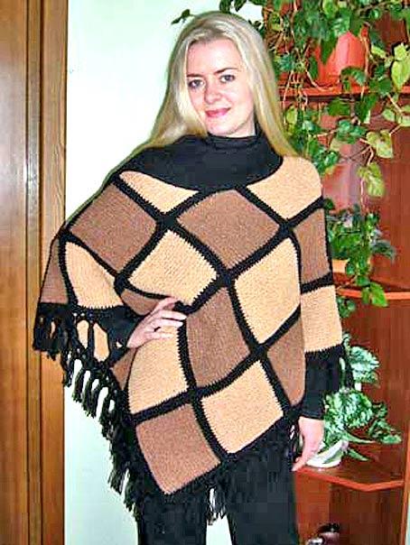 пончо с воротником-шарфом вязание.