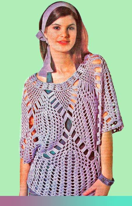 ажурный летний пуловер крючком