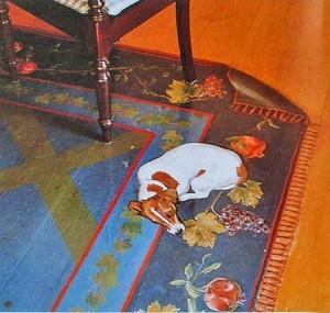 собака на ковре