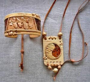 браслет кулон из бересты