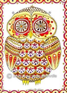 картина сова индийские узоры