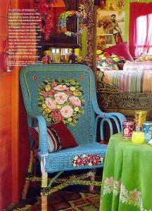 вышивка плетеное кресло