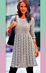 платье вязаное спицами и крючком