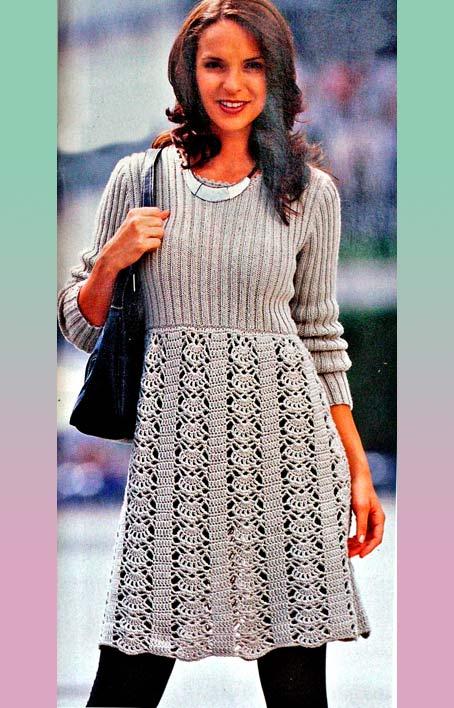 Платье с ажурным низом (вязание крючком,спицами) .