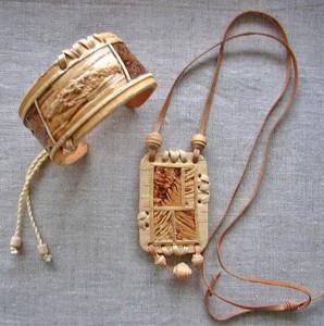 браслет и кулон из бересты