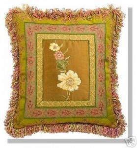 подушка аппликация цветок хенд-мейд