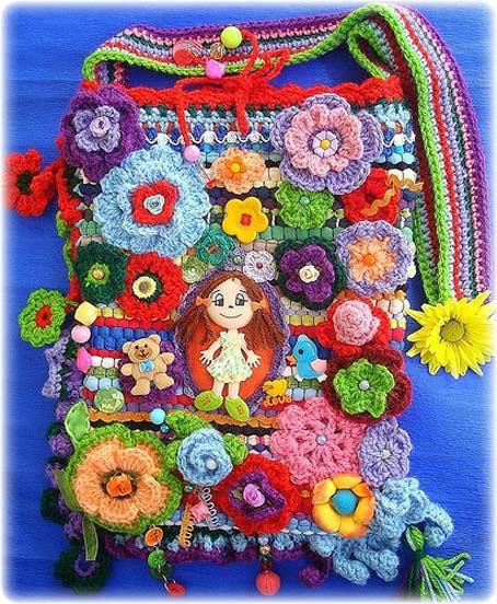 сумочка крючком с цветами