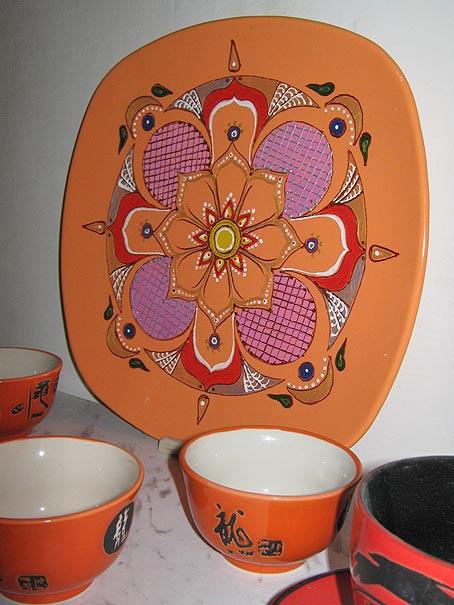 тарелка с росписью акрилом