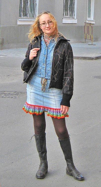 джинсовая юбка хенд-мейд крючком