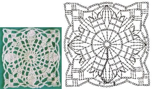 Квадратные мотивы для платья крючком схемы
