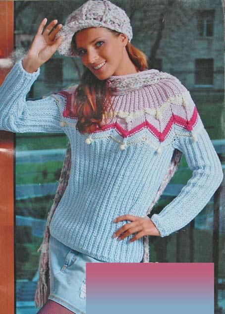 свитер пуловер спицами