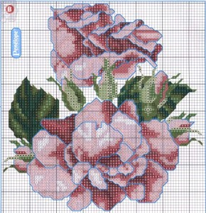 схемы для вышивания розы