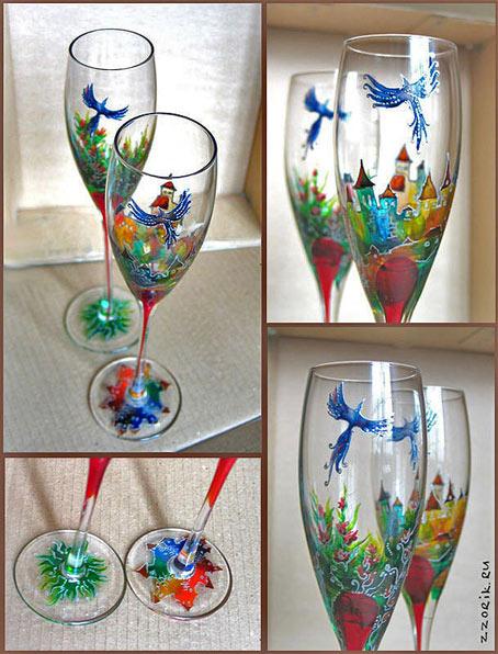 Роспись стаканов витражными красками