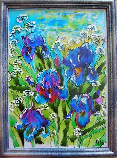 картина красками по стеклу ирисы