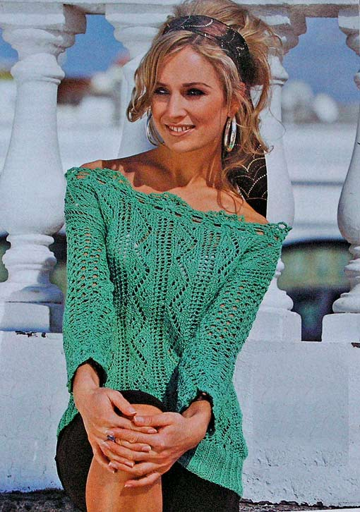 пуловер спицами и крючком