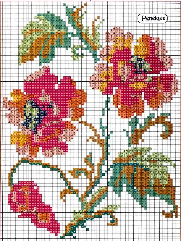 схемы крестом цветы - цветы.