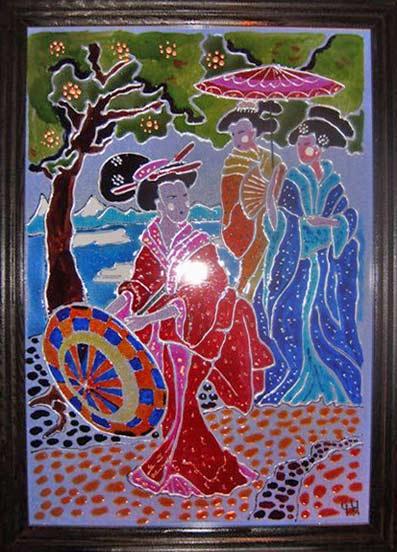 картина красками по стеклу в японка