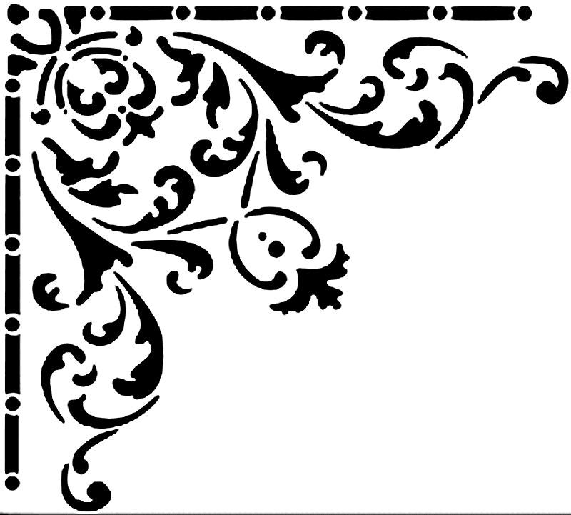 Угловой трафарет с растительным узором