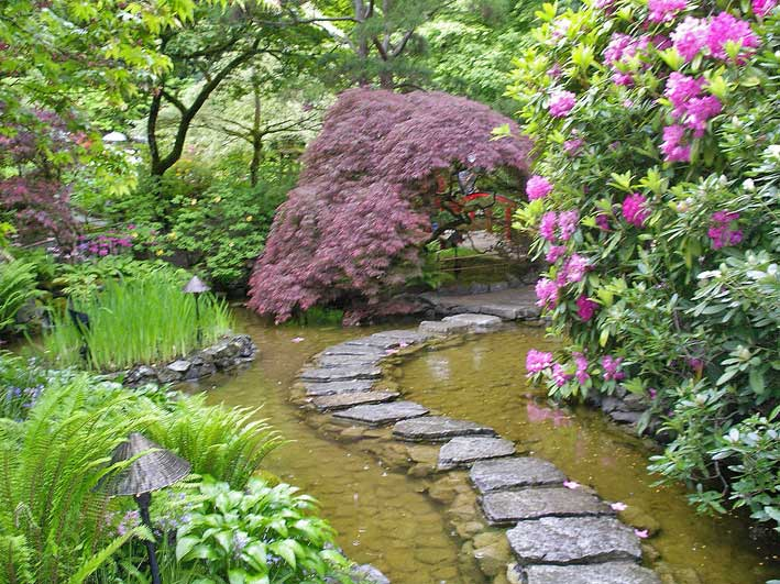 японский сад пруд - пешеходная тропинка по воде