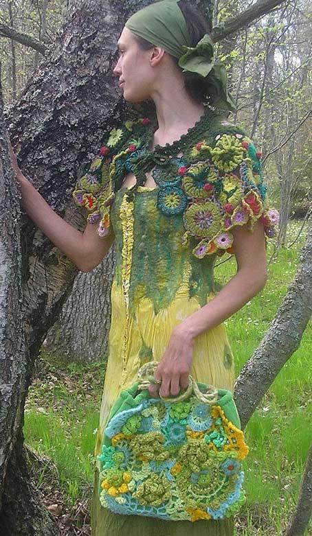 Необычная хенд-мейд одежда, связанная крючком