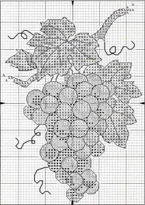 схема вышивки винограда