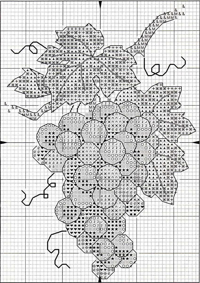 Хотите создать такую новую вышитую картину с гроздью винограда.  Тогда смотрите схему вышивки, приведенную ниже...