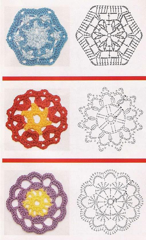 шестиугольные мотивы крючком схемы - Сделай сам!