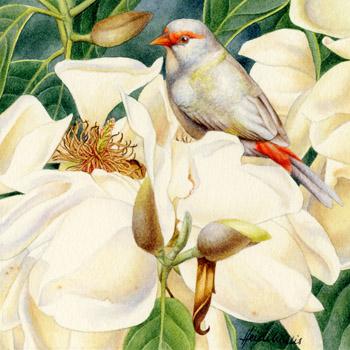 птица цветы картина