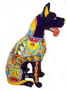 статуэтка собаки с мексиканской росписью
