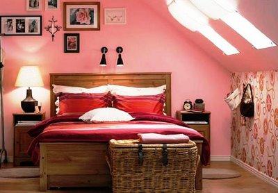 яркий интерьер розовая спальня