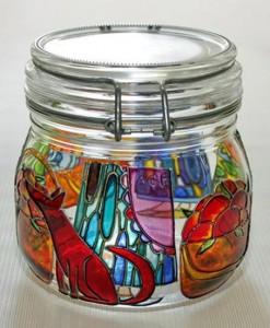 банка витражными красками роспись по стеклу