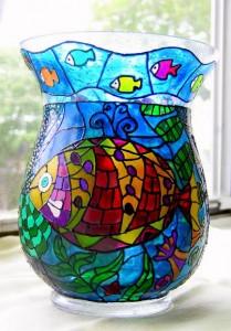 кружка витражными красками роспись по стеклу