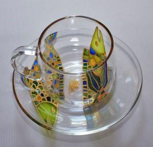 чайная пара витражными красками роспись по стеклу