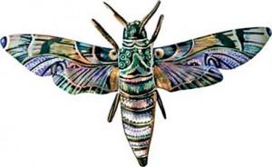 бабочка из папье-маше роспись акрилом