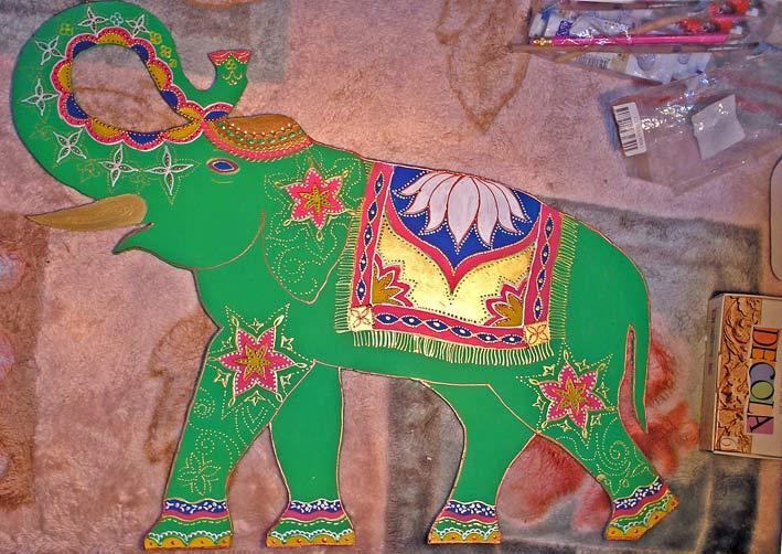 слон роспись акрилом по двп