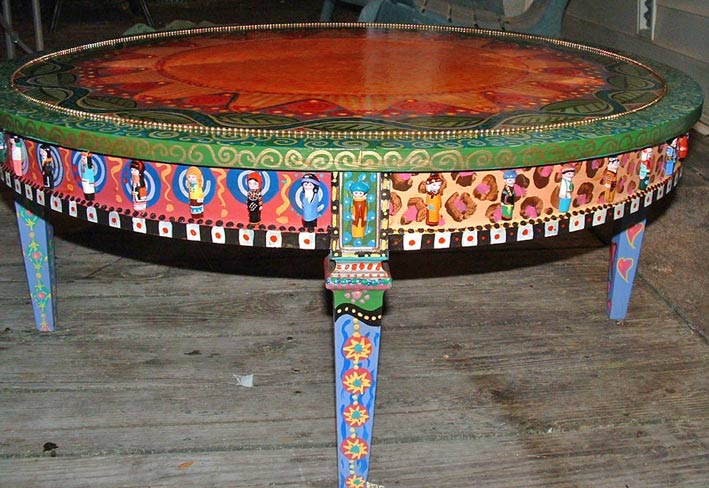 роспись мебели чайный столик