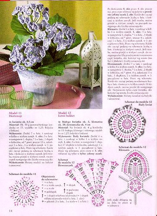 цветы, связанные крючком со схемами.