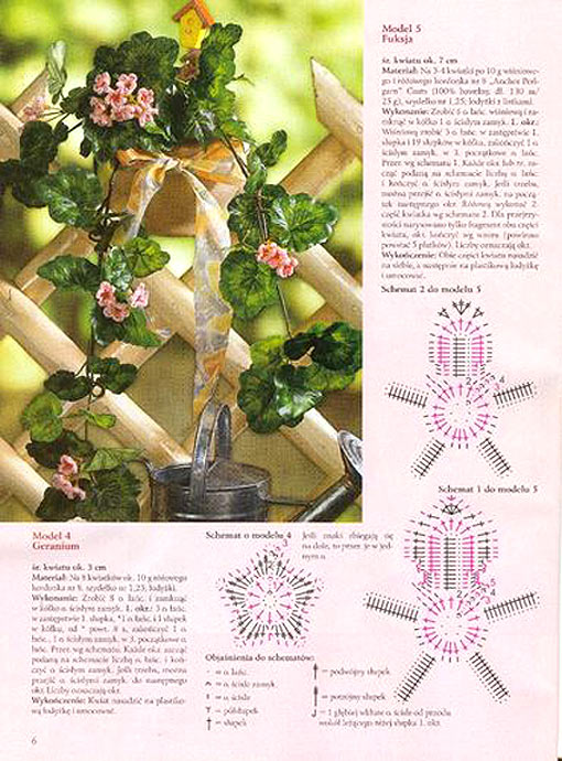 Схемы вязанных цветов крючком