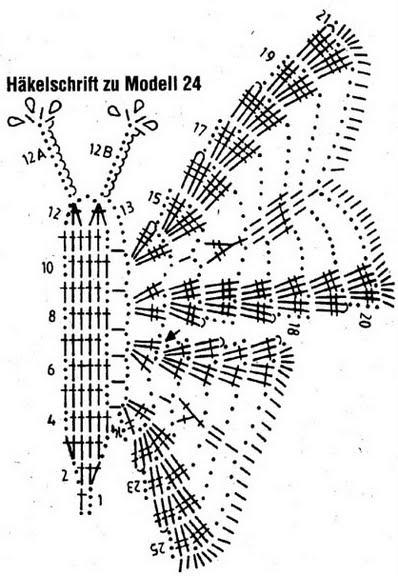 бабочка крючком схема вязания