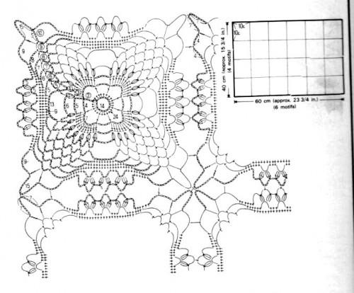 Схема мотива квадратной салфетки 3-1