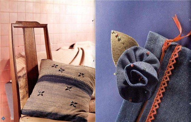 подушка сделать из старых джинсов