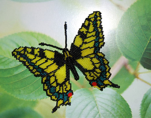 Махаон бабочка из бисера