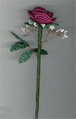 схема розы из бисера.