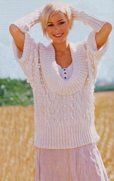 узорчатый пуловер и нарукавники спицами