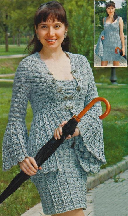 платье и жакет крючком
