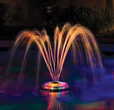 Надводная подсветка фонтана на даче