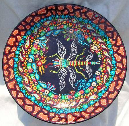 роспись тарелок акриловыми красками - стрекоза